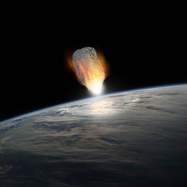 A massive asteroid, glowing white hot, enters Earths atmosphere moments before impact with the planet. :スマホ壁紙(壁紙.com)