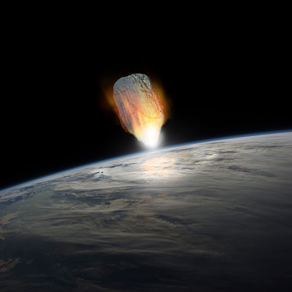 Fireball「A massive asteroid, glowing white hot, enters Earths atmosphere moments before impact with the planet. 」:スマホ壁紙(3)