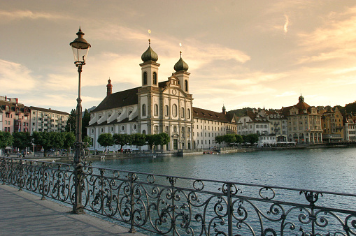 Sepia Toned「Baroque Cathedral On Luzern Waterfront」:スマホ壁紙(13)