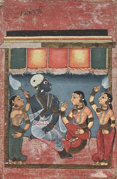God「Krishna With Radha And Two Attendants (Recto)」:写真・画像(15)[壁紙.com]