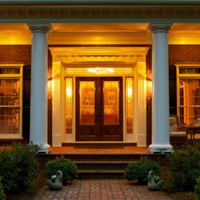 Front Door「Elegant Facade of Brick Home」:スマホ壁紙(2)