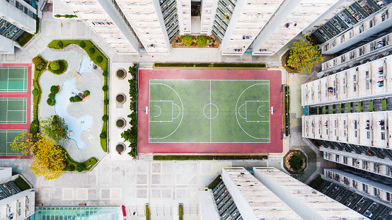 Poor Area「Aerial Hong Kong's housing estate with Basketball court」:スマホ壁紙(19)