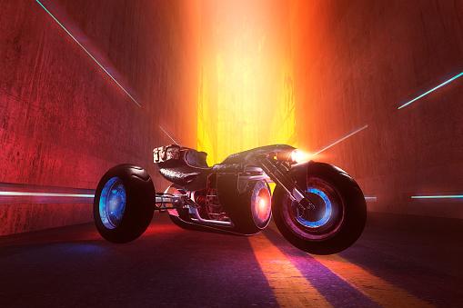 Motorcycle「Fantasy superbike in the dark futuristic street」:スマホ壁紙(0)