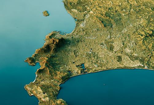Digital Composite「Cape Town 3D Landscape View South-North Natural Color」:スマホ壁紙(1)