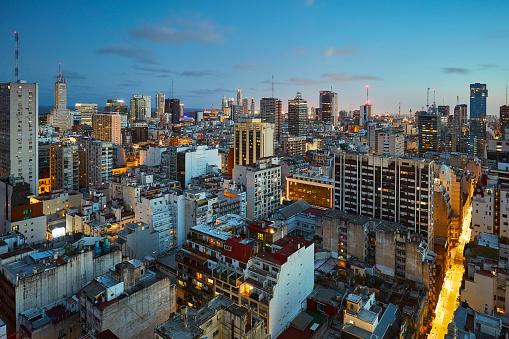 Buenos Aires「Aerial night view at microcentro in Buenos Aires, Argentina」:スマホ壁紙(2)