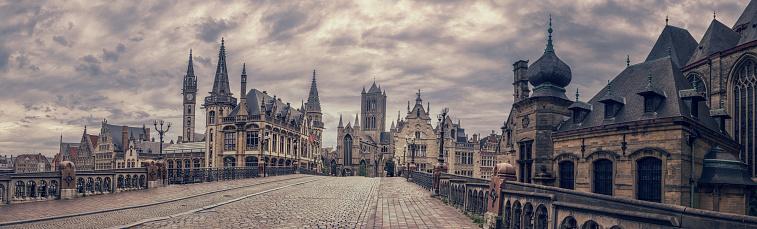Belgium「Ghent Cityscape from St Michael's Bridge, Belgium」:スマホ壁紙(6)