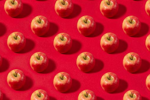 Apple「Apple Fruit Pattern on Red Background」:スマホ壁紙(5)