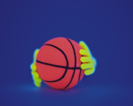 Human Body Part「Holding a Basketball in Black Light, Close Up」:スマホ壁紙(12)