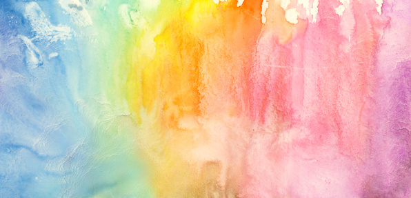 Rainbow「Watercolor rainbow painting」:スマホ壁紙(5)