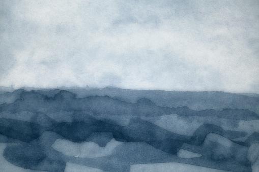 美術品「水彩画の嵐海霧の背景」:スマホ壁紙(13)