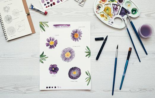 Belgium「Watercolor painting of purple flowers on the desk, top view」:スマホ壁紙(4)