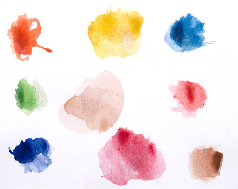 Stained「Watercolor paints on a white piece of paper ready to use」:スマホ壁紙(4)