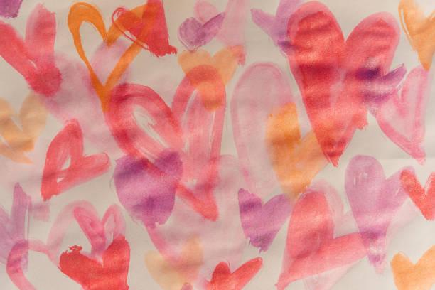 Watercolor painting of hearts:スマホ壁紙(壁紙.com)