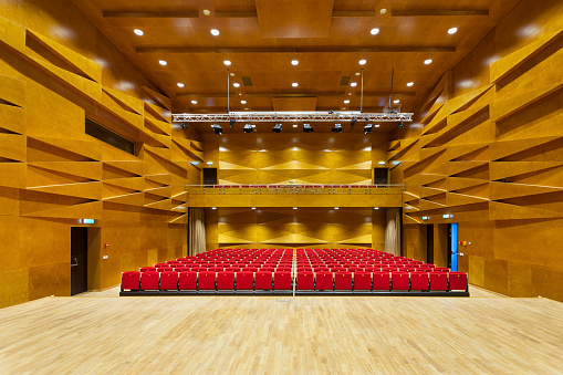 Concert Hall「Estonia, Tartu, Heino Eller's Music school, Concert hall auditorium, with row of seats」:スマホ壁紙(8)
