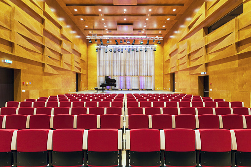 Concert Hall「Estonia, Tartu, Heino Eller's Music school, Concert hall auditorium, with row of seats」:スマホ壁紙(14)