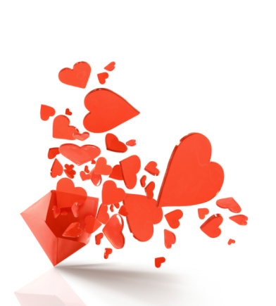 バレンタイン「封筒にレッドのハートはじける」:スマホ壁紙(7)
