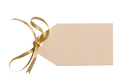 Place Setting「Ivory colored gift tag with gold bow & clipping path」:スマホ壁紙(17)