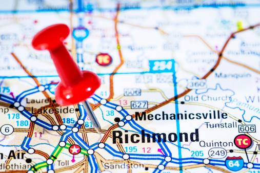 Virginia - US State「US capital cities on map series: Richmond, Virginia, VA」:スマホ壁紙(1)