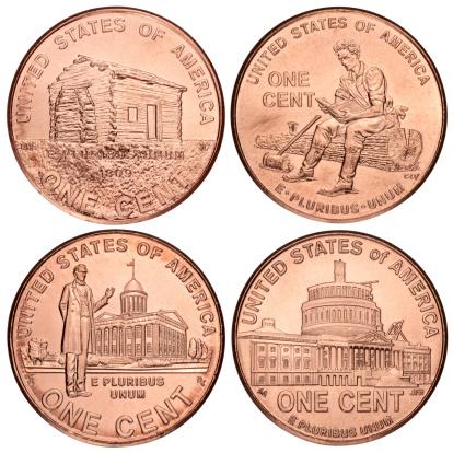 米国硬貨「Set of Lincoln penny に白背景」:スマホ壁紙(19)