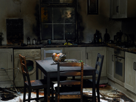 Domestic Kitchen「Domestic kitchen burnt in fire」:スマホ壁紙(1)
