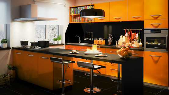 Black Color「Domestic Kitchen Interior」:スマホ壁紙(14)