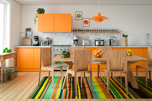 Orange Color「Domestic Kitchen Interior」:スマホ壁紙(2)