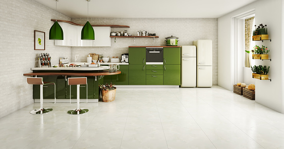 Green Color「Domestic Kitchen Interior」:スマホ壁紙(8)