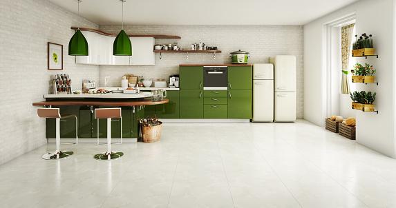 Green Color「Domestic Kitchen Interior」:スマホ壁紙(1)