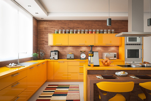 Orange Color「Domestic Kitchen Interior」:スマホ壁紙(15)