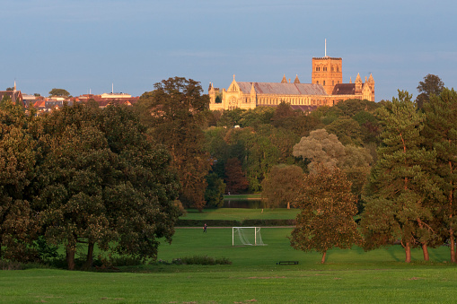 Abbey - Monastery「St Albans Cathedral seen from Verulamium Park. St Albans Hertfordshire.」:スマホ壁紙(5)