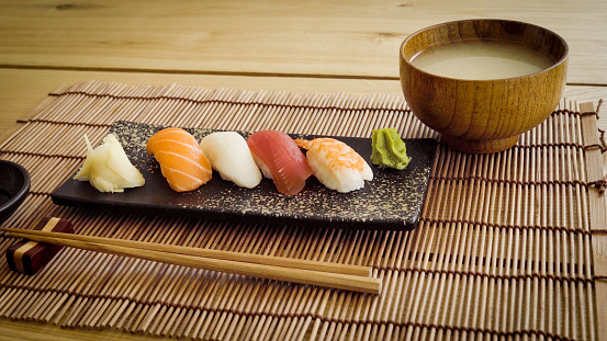 Soy Sauce「Gourmet Sushi on a Plate with Miso Soup and Chopsticks」:スマホ壁紙(1)