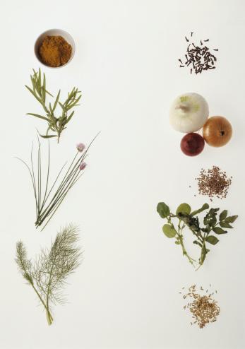 カーネーション「Assorted fresh herbs and vegetables on white background」:スマホ壁紙(19)