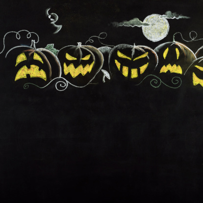 Cartoon「Halloween Pumpkin Border.Copy Space.」:スマホ壁紙(11)