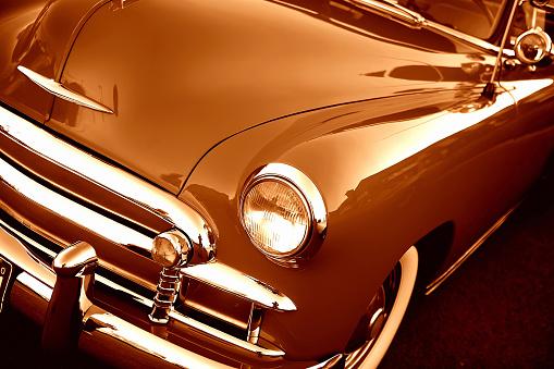 Hot Rod Car「Detail close-up on retro car」:スマホ壁紙(1)