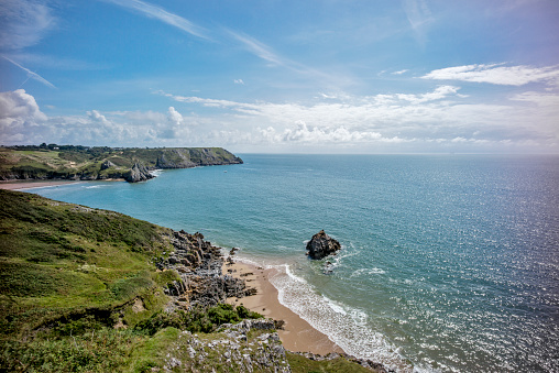 波「Three Cliffs Bay, Gower, South Wales, UK」:スマホ壁紙(16)