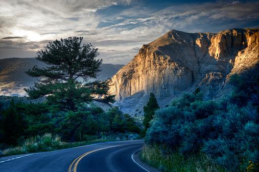 Road Marking「Curving Road in Yellowstone, Dusk」:スマホ壁紙(6)