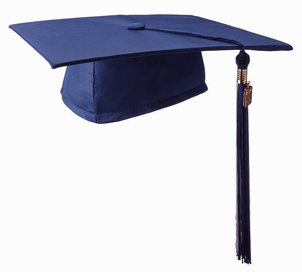 Blue graduation cap, white background:スマホ壁紙(壁紙.com)