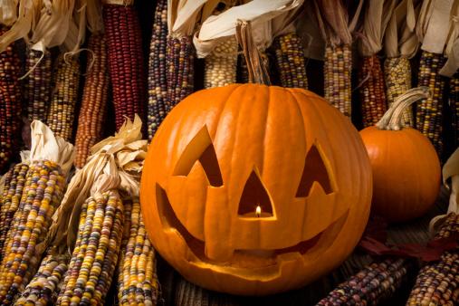 ハロウィーンのカボチャ「Jack-O-lantern and Indian corn」:スマホ壁紙(18)