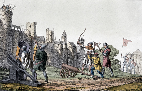 Medieval「Soldiers And Artillery Of The 15th Century Besieging A Walled Town 19th Century」:写真・画像(19)[壁紙.com]