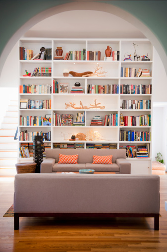 San Diego County「light-filled living room with tall bookshelves」:スマホ壁紙(9)