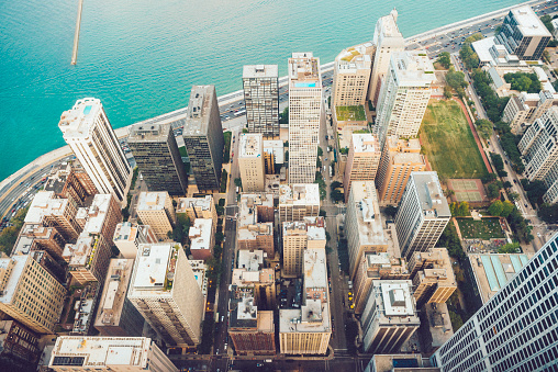 Great Lakes「Chicago Aerial View of Buildings Lake Michigan Midwest USA」:スマホ壁紙(9)