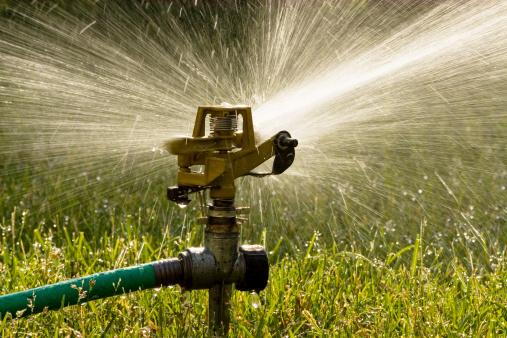 Hose「Irrigation sprinkler watering grass.」:スマホ壁紙(14)