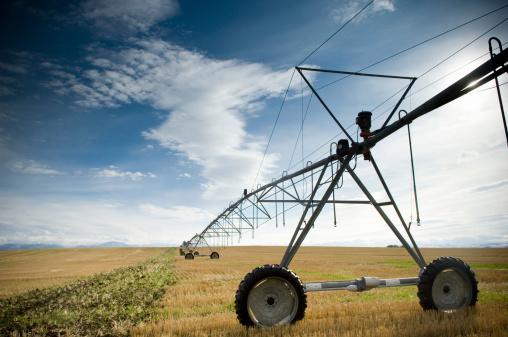 Sprinkler「Irrigation sprinkler system in field (diminishing perspective)」:スマホ壁紙(8)