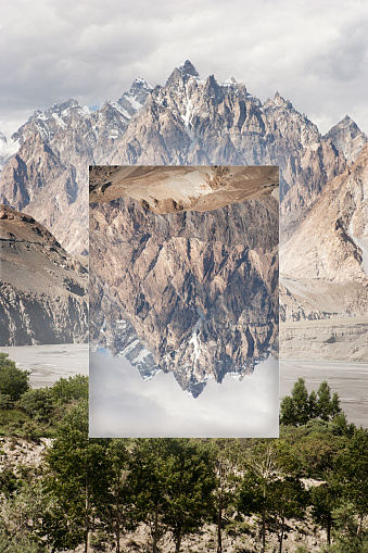 Multiple Exposure「Glitch effect of mountains near river, Hunza, Northern Areas, Pakistan」:スマホ壁紙(1)