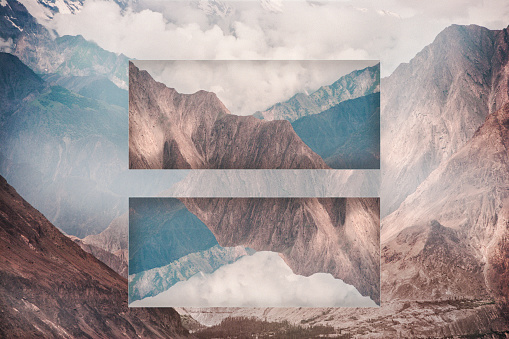 Multiple Exposure「Glitch effect of mountains and clouds, Hunza, Northern Areas, Pakistan」:スマホ壁紙(7)