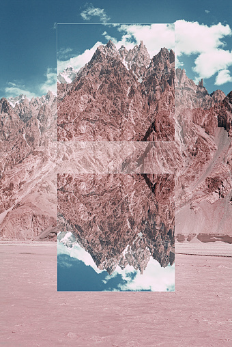 Multiple Exposure「Glitch effect in mountains near river, Hunza, Northern Areas, Pakistan」:スマホ壁紙(2)