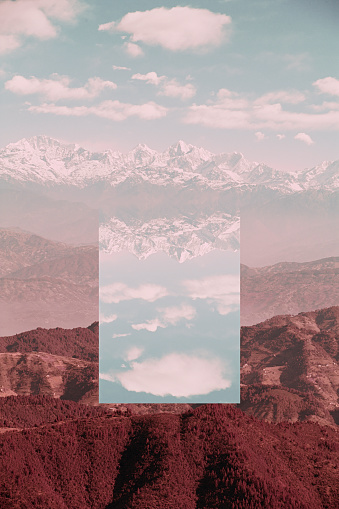 Multiple Exposure「Glitch effect in mountains, Kathmandu Valley, Kathmandu, Nepal」:スマホ壁紙(1)