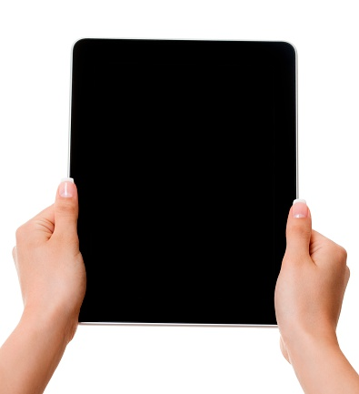 Touch Screen「Woman hands holding black tablet pc with black screen isolated」:スマホ壁紙(3)