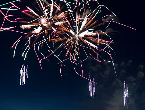 花火「spectacular, majestic fireworks display with colorful starburst explosives exploding in the night sky, rockets shot up bursting, glowing, sparkling and streaking lights during summer festival in Munich」:スマホ壁紙(17)