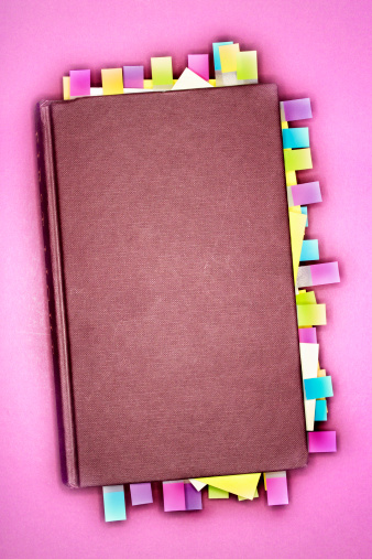 Adhesive Note「Notebook with sticky notes marking pages, overhead view」:スマホ壁紙(6)